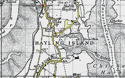 Old map of Hayling Island in 1945