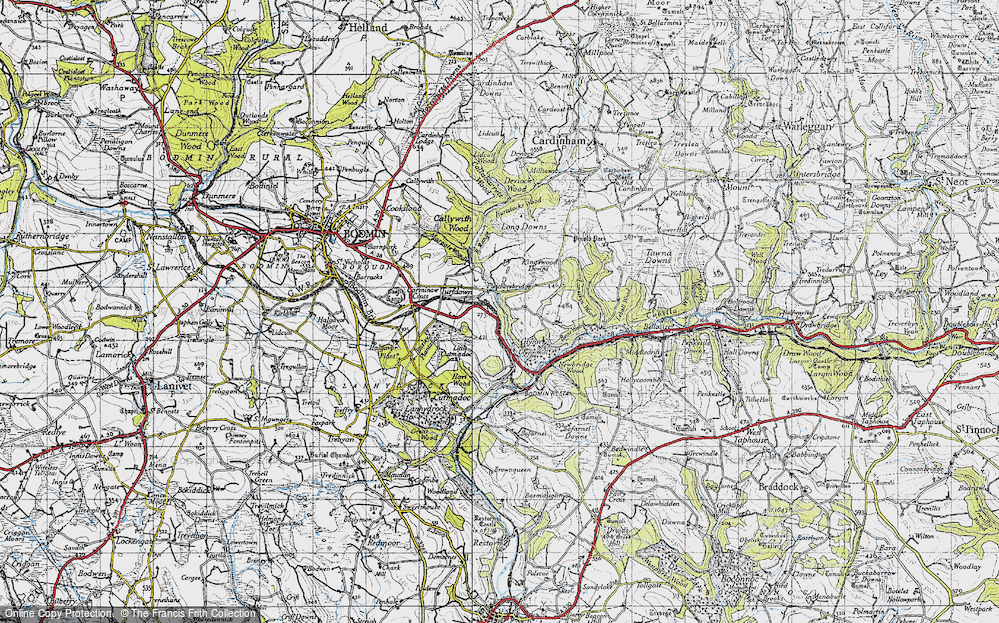 Old Map of Historic Map covering Laneskin Wood in 1946