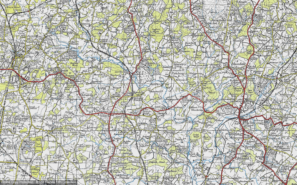 Old Map of Historic Map covering Lane End Common in 1940