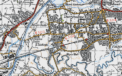 Old map of Flixton in 1947
