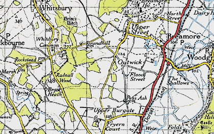 Old map of Whitsbury Common in 1940