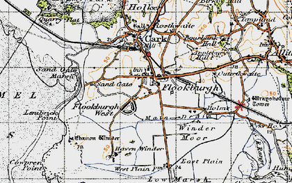 Old map of Flookburgh in 1947