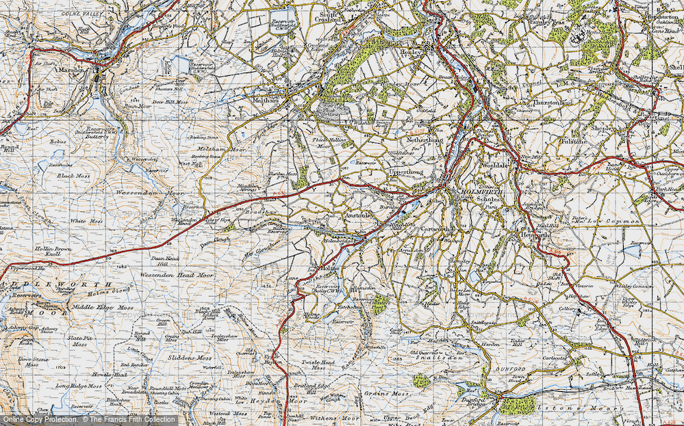 Old Map of Historic Map covering Wood Cottage in 1947