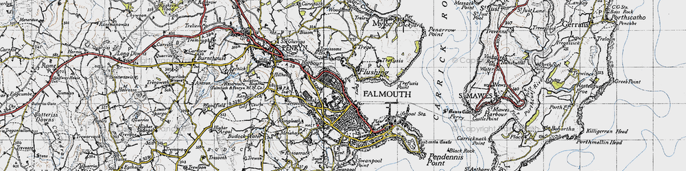 Old map of Flushing in 1946