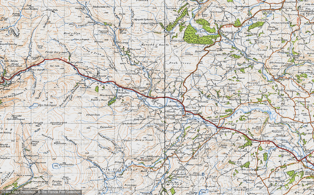 Old Map of Historic Map covering Allt Cae-dû in 1947