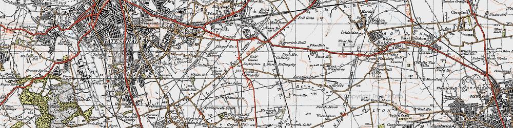 Old map of Wrakendike (Roman Road) in 1947