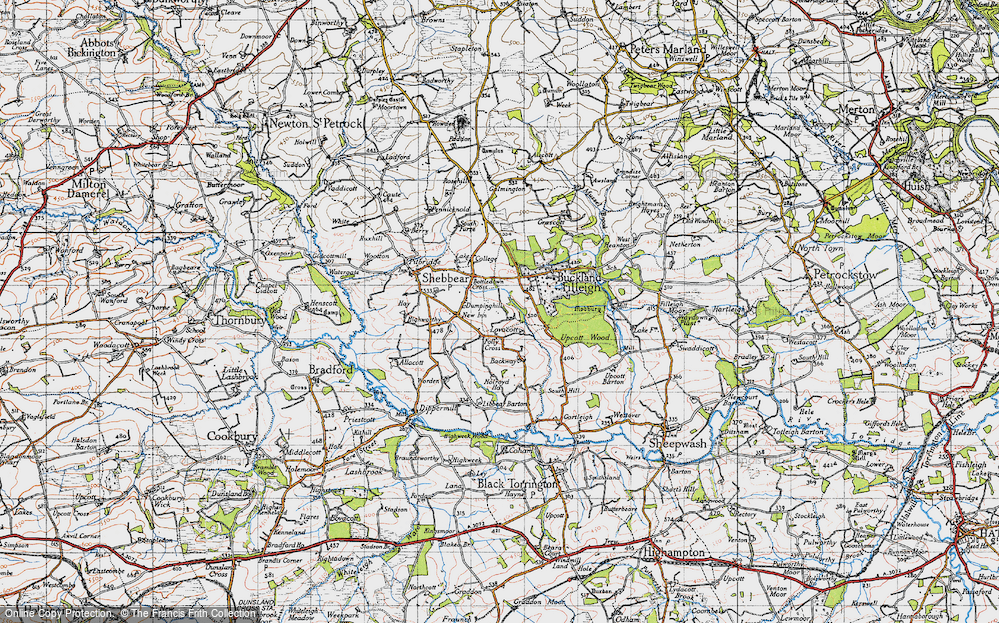 Old Map of Historic Map covering Backway in 1946