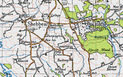 Old map of Backway in 1946