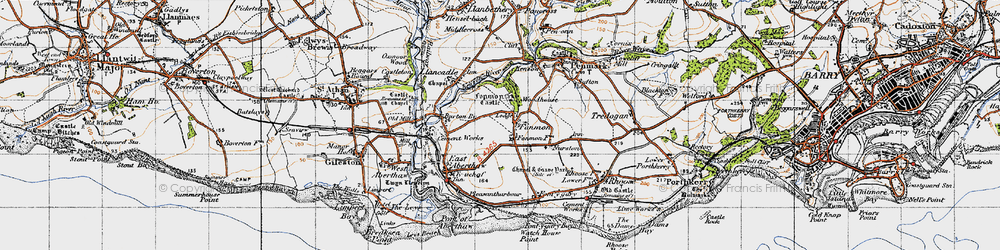 Old map of Fonmon in 1947