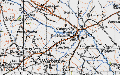 Old map of Fonston in 1946