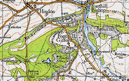 Old map of Fonthill Gifford in 1940