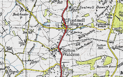 Old map of Fontmell Magna in 1945