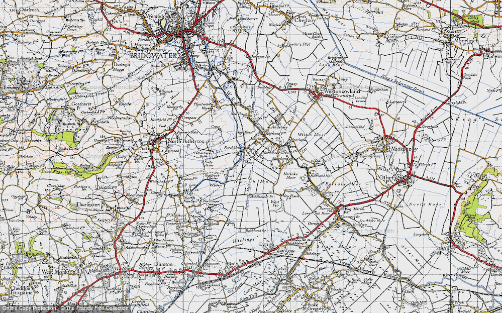 Old Map of Fordgate, 1945 in 1945