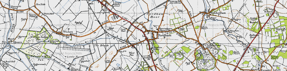 Old map of Fordham in 1946