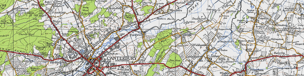 Old map of Fordwich in 1947