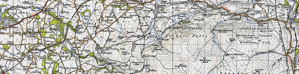 Old map of Tindale Fells in 1947