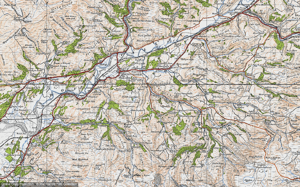 Old Map of Historic Map covering Allt-cae-melyn in 1947