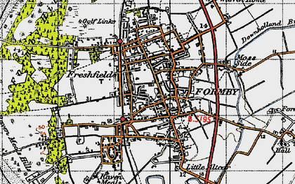 Old map of Formby in 1947