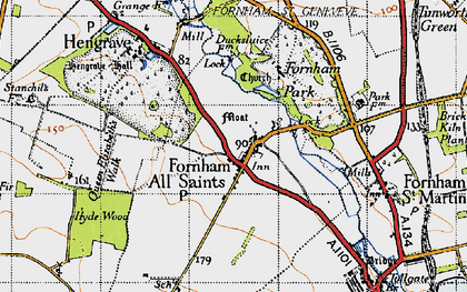 Old map of Fornham All Saints in 1946