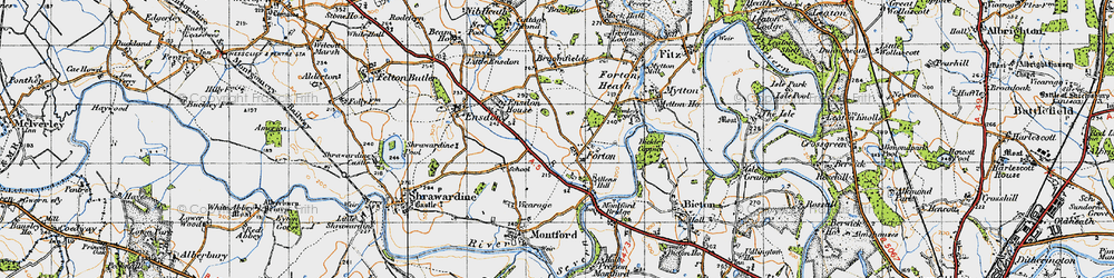 Old map of Forton in 1947