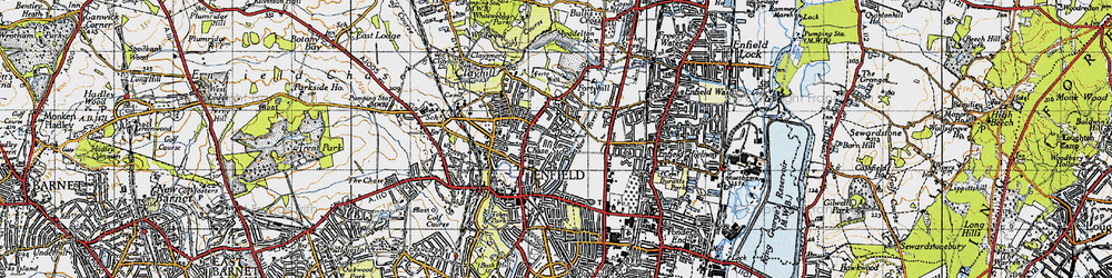 Old map of Forty Hill in 1946