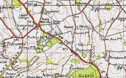 Old map of Fosbury in 1945