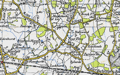 Old map of Four Elms in 1946