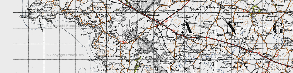 Old map of Four Mile Bridge in 1947