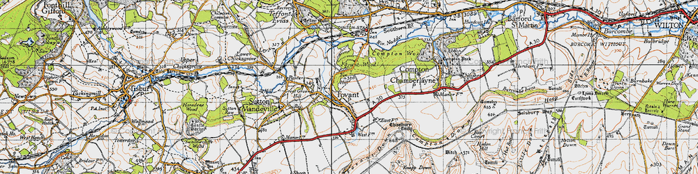 Old map of Fovant in 1940