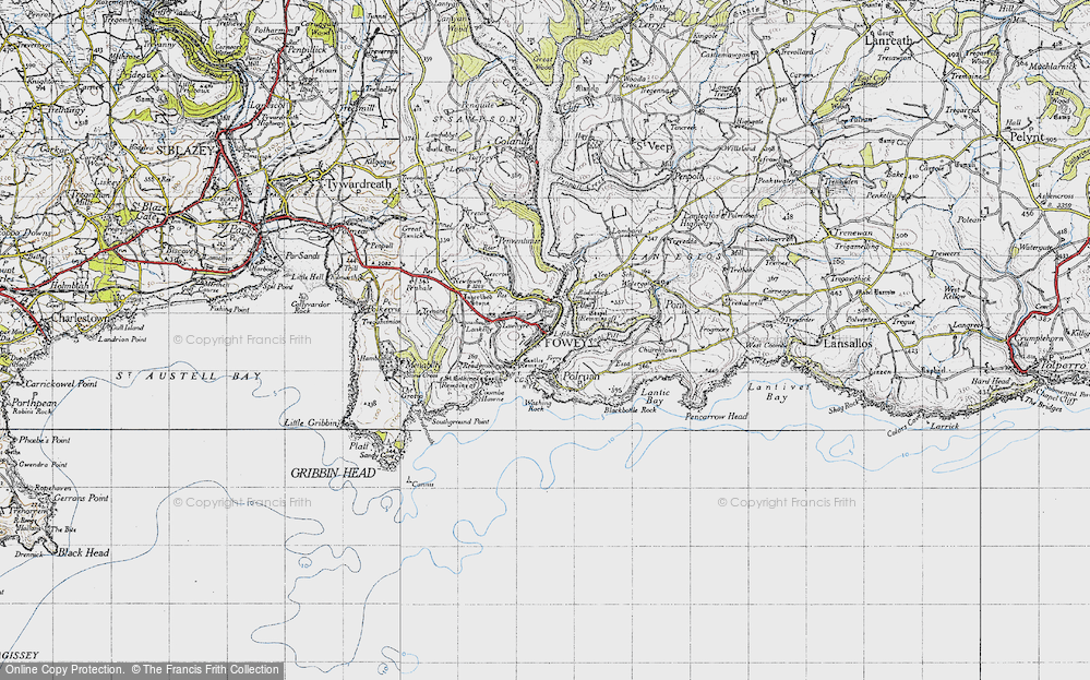 Old Map of Fowey, 1946 in 1946