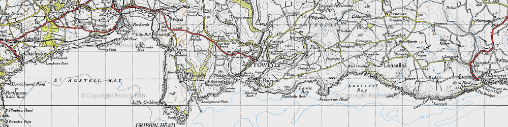 Old map of Fowey in 1946