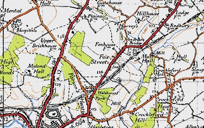Old map of Ardleigh Reservoir in 1945