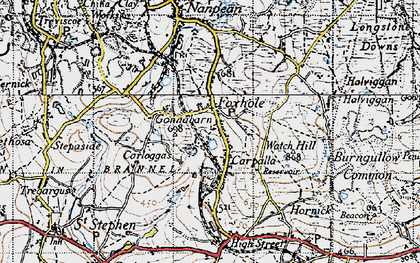 Old map of Foxhole in 1946
