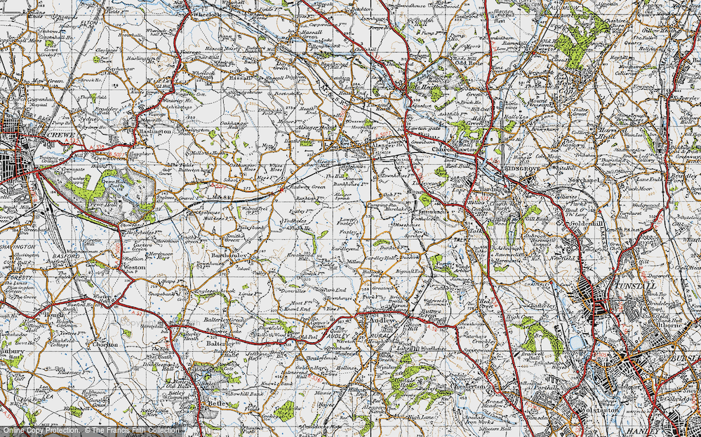 Old Map of Historic Map covering Bank Top in 1946