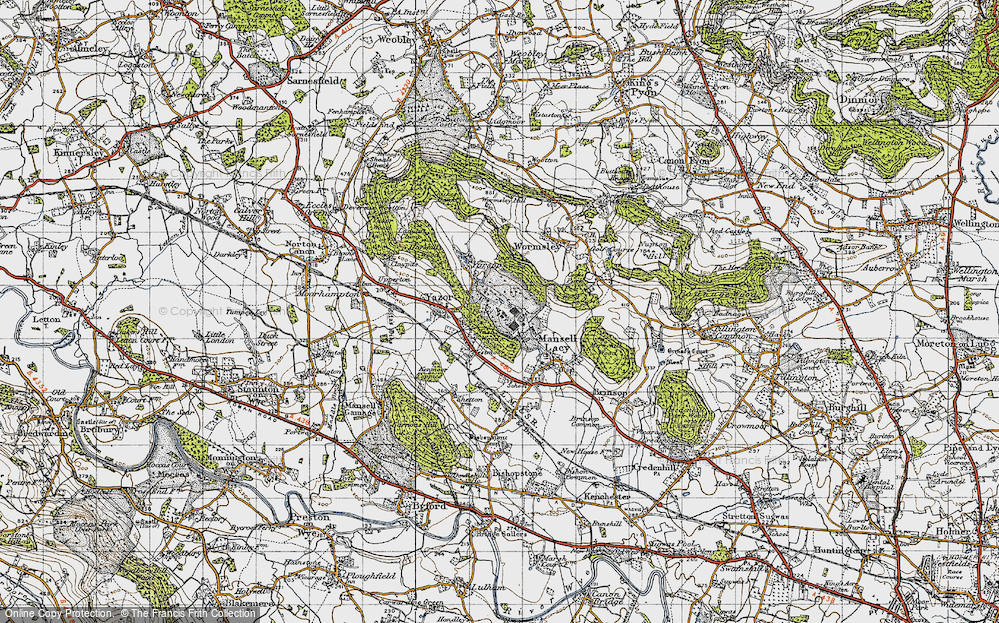 Old Map of Historic Map covering Bache Wood in 1947