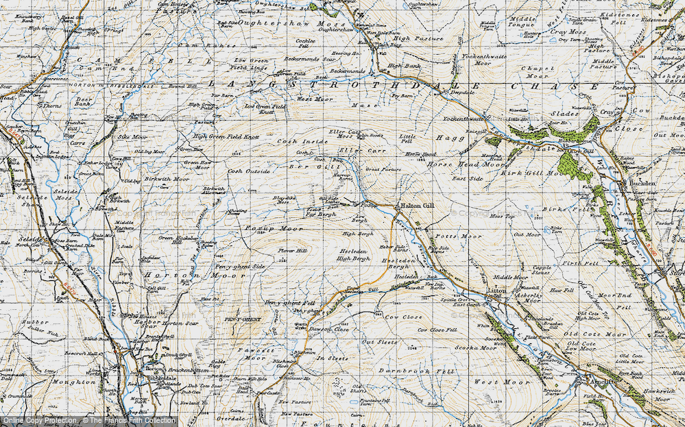 Old Map of Historic Map covering Yorkshire Dales National Park in 1947