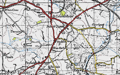 Old map of Fraddon in 1946