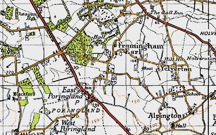 Old map of Framingham Earl in 1946