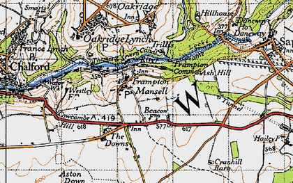 Old map of Ash Hill in 1947