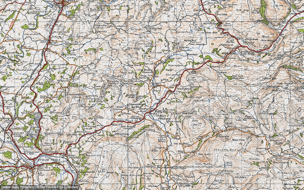 Old Map of Historic Map covering Allt-y-Coryn in 1947