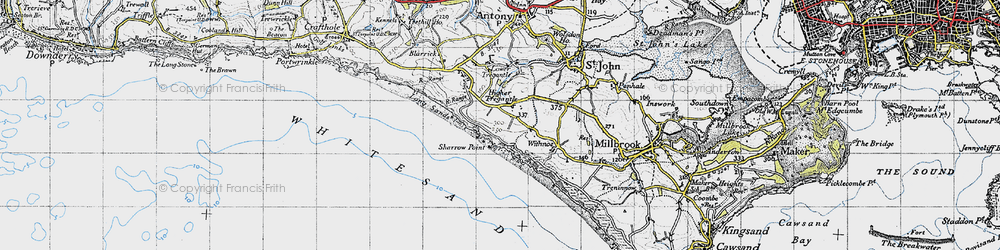 Old map of Lower Tregantle in 1946