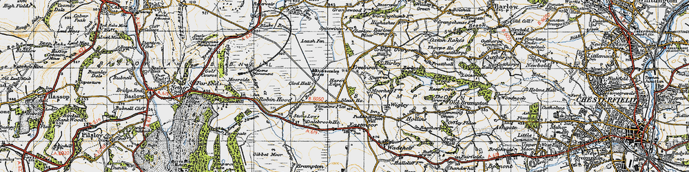 Old map of Whibbersley Cross in 1947
