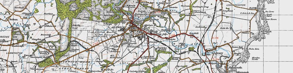 Old map of Allerburn Ho in 1947