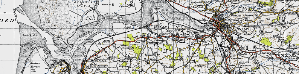 Old map of Fremington in 1946