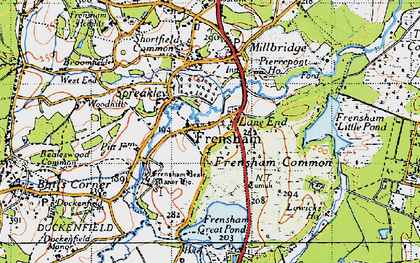 Old map of Frensham in 1940