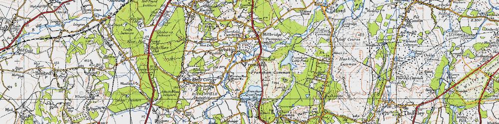 Old map of Frensham in 1940