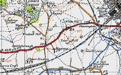 Old map of Freshbrook in 1947