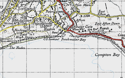 Old map of Freshwater Bay in 1945