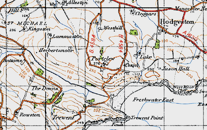 Old map of Freshwater East in 1946