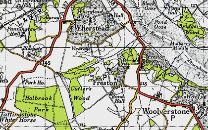 Old map of Freston in 1946